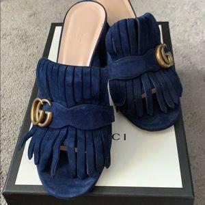 Blue suede slip in sandals GUCCI